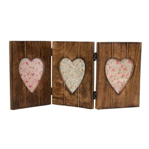 Triple Heart Photo Frame Dark Wood Effect